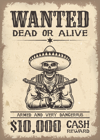 wild: Vitage wild west wanted poster with old paper texture backgroung