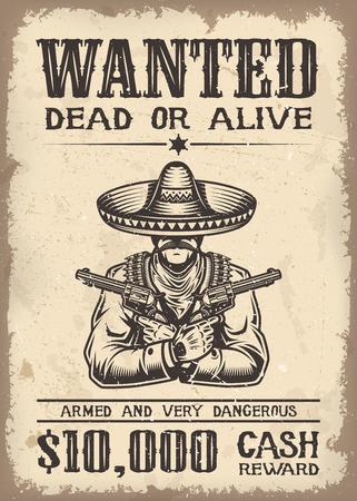 vaquero: Vitage oeste salvaje quiso el cartel con textura de papel viejo backgroung