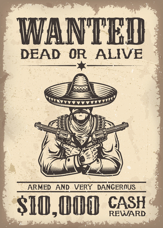 poster designs: Vitage wild west wanted poster with old paper texture backgroung
