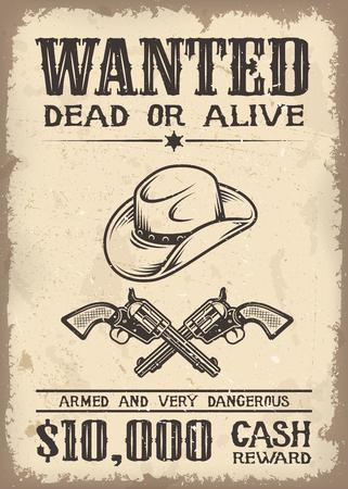 Vitage은 와일드 웨스트 오래 된 종이 질감의 backgroung에 포스터를 원했다