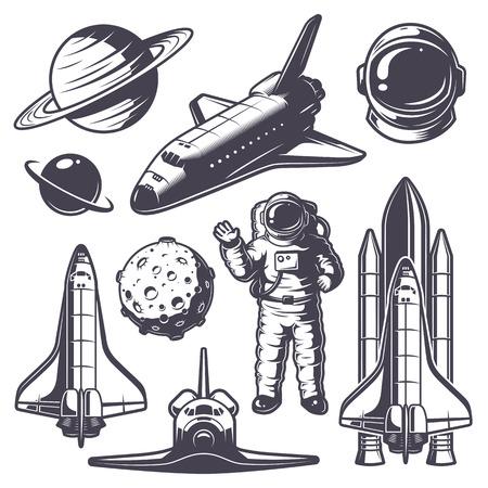 astronauta: Conjunto de elementos del espacio del vintage. estilo monocromático Vectores
