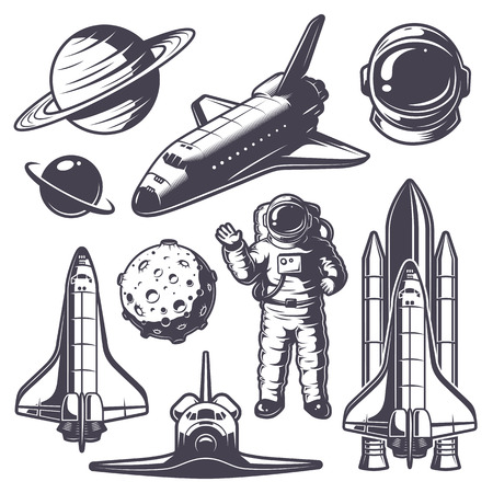 shuttle: Set of vintage space elements. Monochrome style