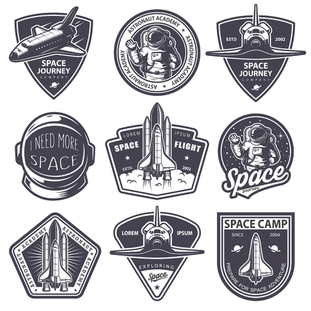Set of vintage space and astronaut badges, emblems, icons and labels. Monochrome style
