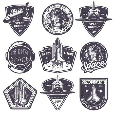 insignias: Conjunto de insignias de la vendimia de espacio y astronauta, emblemas, iconos y etiquetas. Estilo monocromo