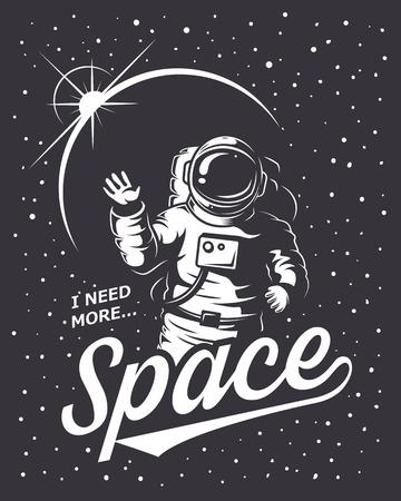 estilo: T-shirt de diseño de impresión. Tema del espacio. Estilo monocromo