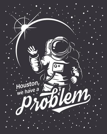 astronauta: T-shirt de diseño de impresión. Tema del espacio. Estilo monocromo