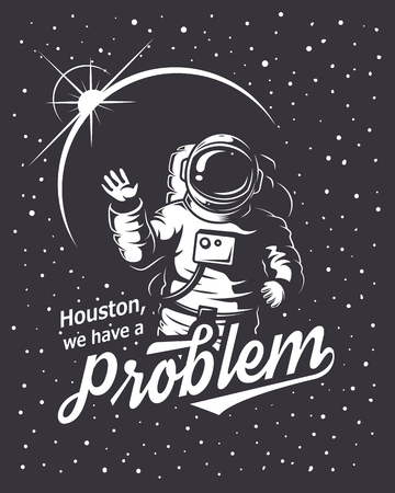 astronauts: T-shirt design print. Space theme. Monochrome style
