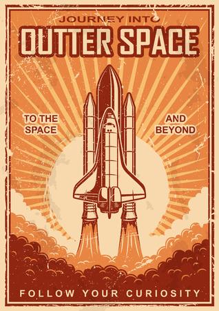 vintage: Veterán helyet Suttle poszter grunge sacratched háttere miatt. Űrkutatási témája. Motiváció poszter.