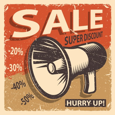 Poster vente Vintage sur un fond de grange Banque d'images - 47757304