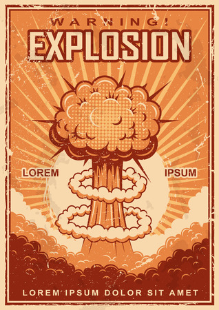 mushroom cloud: Vintage explosion poster on a grunge background. Illustration