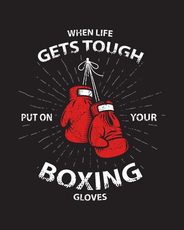 El boxeo Grunge cartel de motivación y de impresión con los guantes de boxeo, el texto, rayos de sol y la textura del grunge. Ilustración de vector