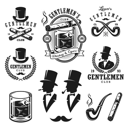 in english: Set of vintage gentlemen emblems, labels, badges and designed elements. Monochrome style