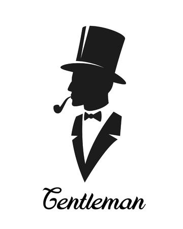 Gentlemen silhouette. Logo style. Monochrome, isolated on white background