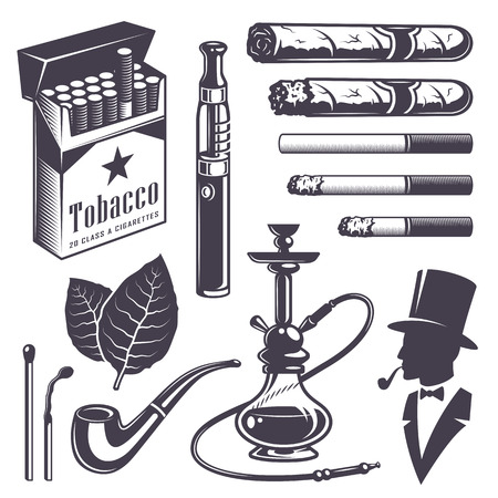 tobacco product: Set of vintage smoking tobacco elements. Monochrome style. Isolated on white background. Illustration