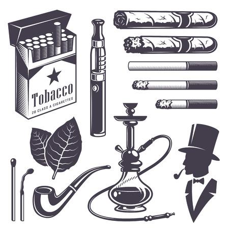 sick leave: Set of vintage smoking tobacco elements. Monochrome style. Isolated on white background. Illustration