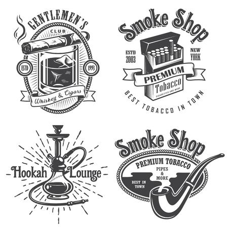 fumando: Conjunto de cosecha de tabaco de fumar emblemas, etiquetas. insignias y logotipos. Estilo monocromático. Aislado en el fondo blanco