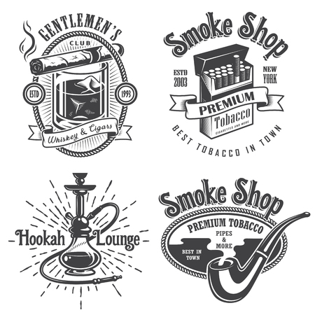 smoke: Set of vintage tobacco smoking emblems, labels. badges and logos. Monochrome style. Isolated on white background