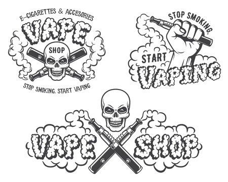 Set of vape, e-cigarette emblems, labels, prints and logos, Monochrome style, Isolated on white background.  イラスト・ベクター素材