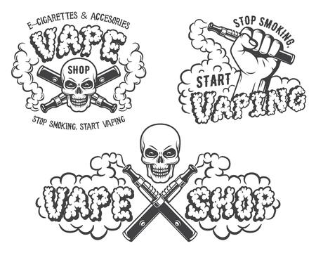 Set van vape, e-sigaret emblemen, labels, prints en logo's, zwart-wit stijl, geïsoleerd op een witte achtergrond.