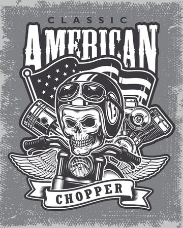 Vintage motorcycle print on grange background. Illustration