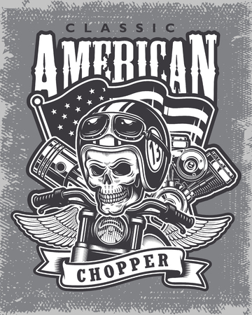 moto: Vintage motorcycle print on grange background. Illustration