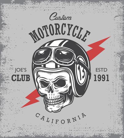 motorcycle repair shop: Vintage motorcycle print with skull in motorcycle helmet on grange background. Illustration