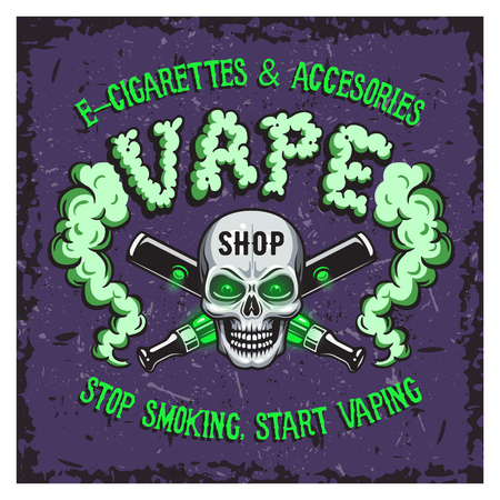 eliquid: Colour vector illustration of vape smoking and e-cigarettes. For sticker, poster, emblem, print.