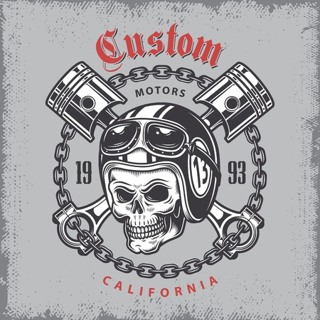 ビンテージ バイクは、オートバイのヘルメットの頭蓋骨と印刷、グランジ背景にピストンを渡った。