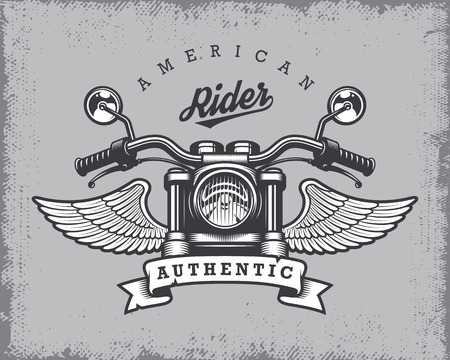 Vintage motorcycle print with motorcycle, wings and ribbon on grange background.