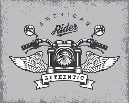 motor race: Vintage motorfiets afdruk met motorfiets, vleugels en lint op grange achtergrond.