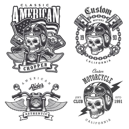 빈티지 오토바이 티셔츠 인쇄, 엠 블 럼, 레이블, 배지 및 로고의 집합입니다. 흑백 스타일. 흰색 배경에 고립