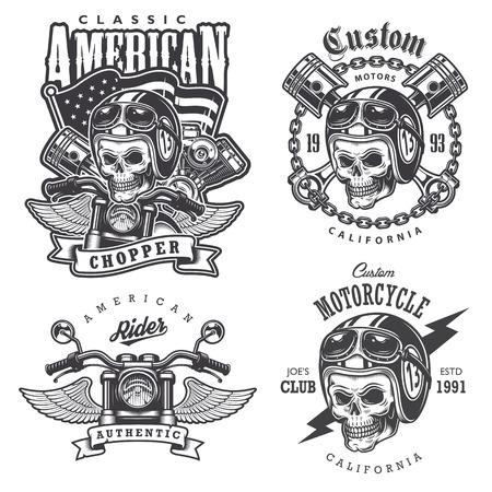 motor race: Reeks Uitstekende motorfiets t-shirt prints, emblemen, etiketten, badges en logo's. Zwart-wit stijl. Geïsoleerd op witte achtergrond Stock Illustratie