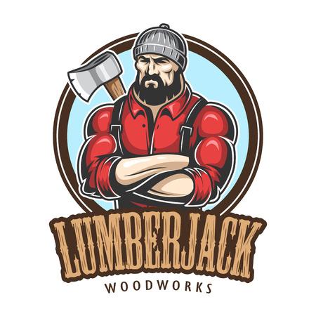 brutal: Vector illustration of lumberjack emblem, label, badge, logo with text. Isolated on white background. Illustration