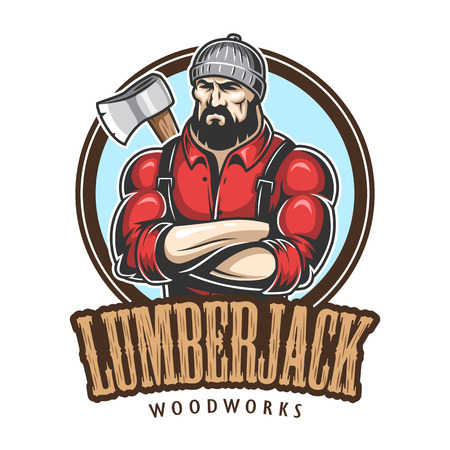 Vector illustration of lumberjack emblem, label, badge, logo with text. Isolated on white background. Vectores