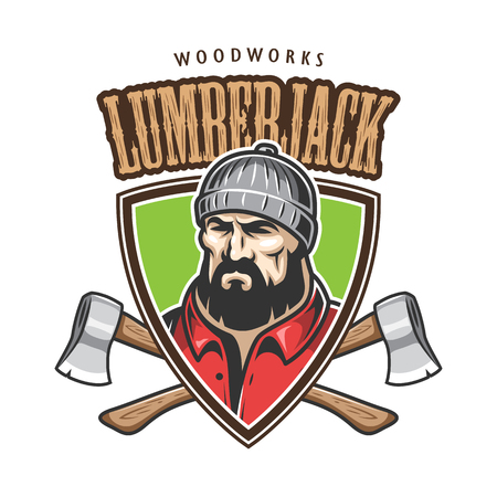 worker man: Vector illustration of lumberjack emblem, label, badge, with text. Isolated on white background.