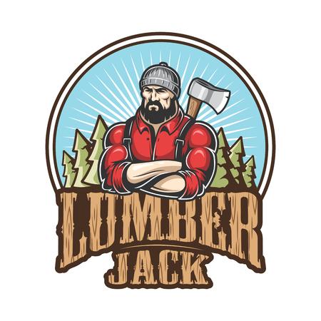 Vector illustration of lumberjack emblem, label, badge, logo with text. Isolated on white background. Stock Illustratie