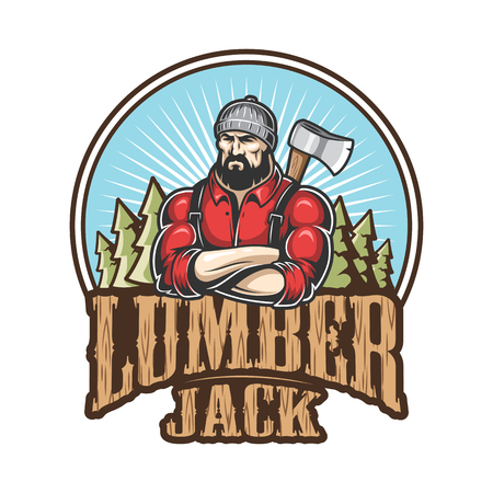 Vector illustration of lumberjack emblem, label, badge, logo with text. Isolated on white background. Ilustração
