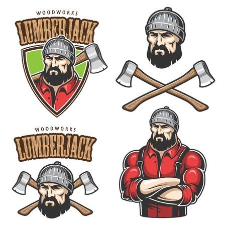 Ilustración vectorial de leñador emblemas, etiquetas, escudos, logotipos con texto. Aislado en el fondo blanco.