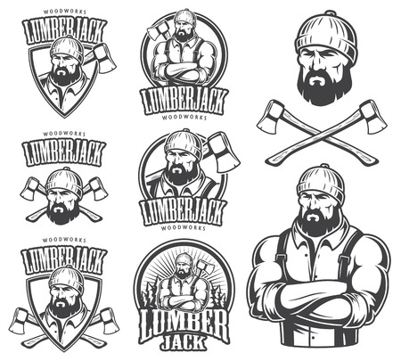 woodcutter: Vector illustration of lumberjack emblem, label, badge, logo and designed elements. Isolated on white background.