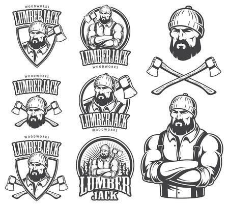 leñador: Vector ilustración de emblema de leñador, etiqueta, insignia, logotipo y elementos diseñados. Aislado en el fondo blanco. Vectores