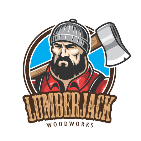 pine forest: Vector illustration of lumberjack emblem, label, badge, logo with text. Isolated on white background. Illustration