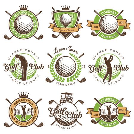 ビンテージ ゴルフ エンブレム、ラベル、バッジのセットです。