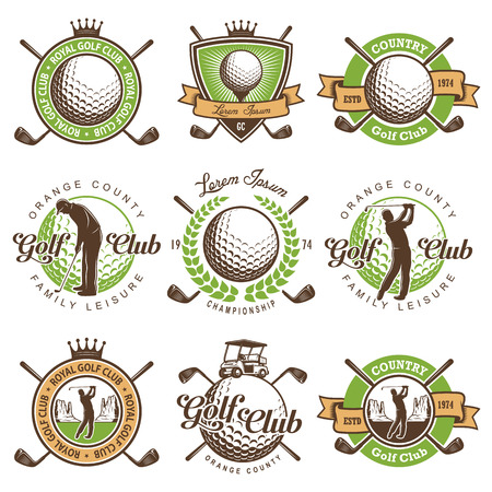 Set of vintage golf emblems,labels, badges. Illustration