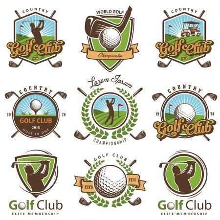 pelota: Conjunto de antiguos emblemas de golf, etiquetas, escudos y logotipos.