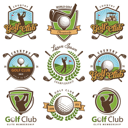 tee: Set of vintage golf emblems,labels, badges and logos.