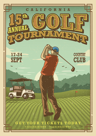 Vintage golf poster with a golf player, golf car and flag on the golf lawn with text. Tournament theme. Иллюстрация