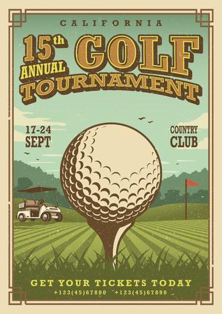Cartel de golf de la vendimia con una pelota de golf, carros de golf y la bandera de golf en el césped con el texto. tema de torneo. Ilustración de vector