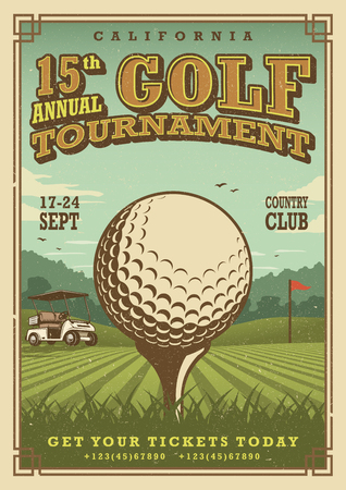 retro design: Vintage golf poster with a golf ball, golf car and flag on the golf lawn with text. Tournament theme.
