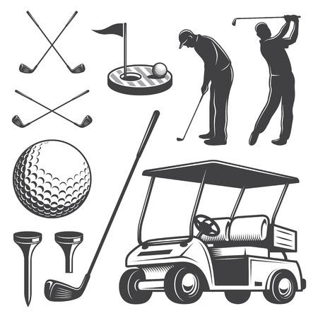 ビンテージ ゴルフ要素のセットです。モノクロ スタイル  イラスト・ベクター素材