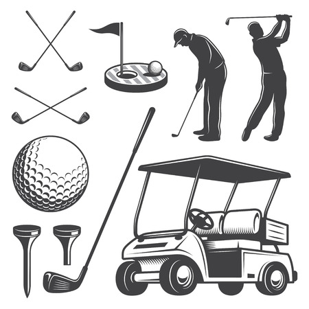 caddy: Set of vintage golf elements. Monochrome style